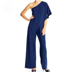 Adrianna Papell Crêpe One Shoulder Jumpsuit